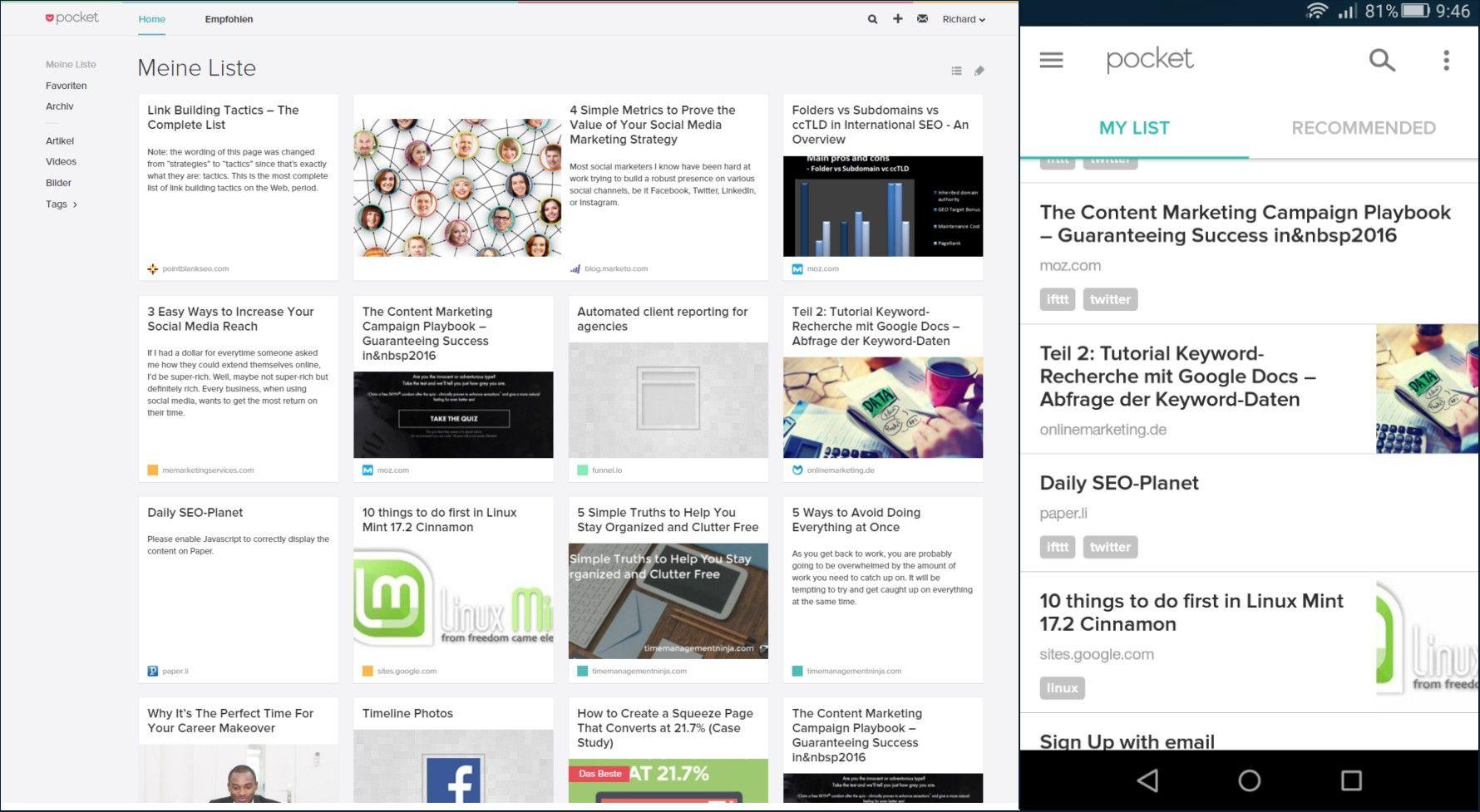 Pocket Dashoard auf PC und Smartphone