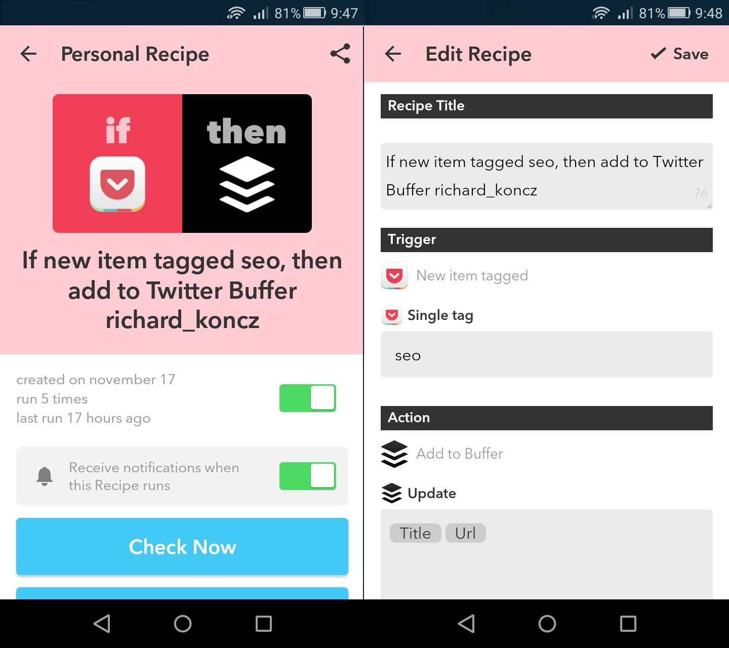 Pocket: Kombination mit IFTTT
