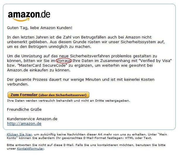 Phishing-Mails bei Amazon-Kunden