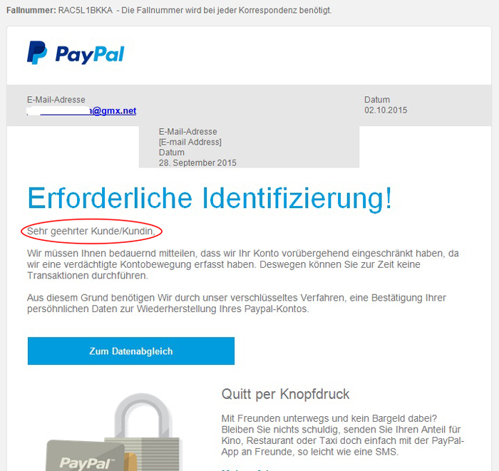 Paypal-Phishing: E-Mails ohne Anrede