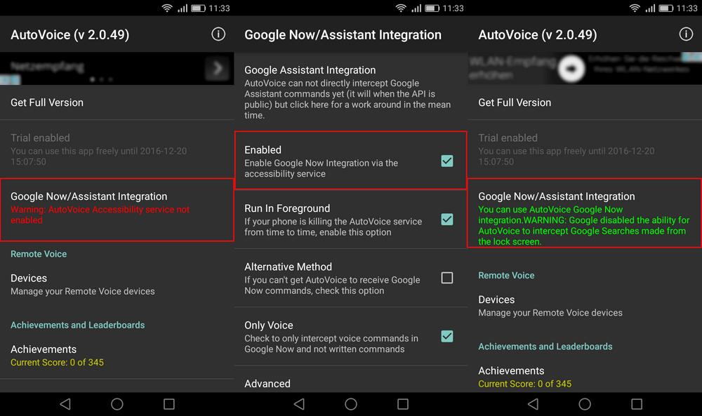 individuelle Google Now Kommandos mit AutoVoice